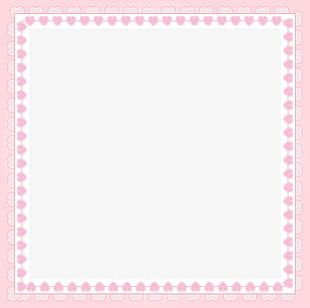 Pink Heart-shaped Decorative Square Frame PNG