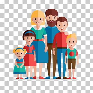 Family Home Evening Flat Design Illustration PNG