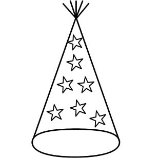 Party Hat New Years Eve Coloring Book PNG