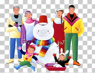 Winter Snowman Family Illustration PNG