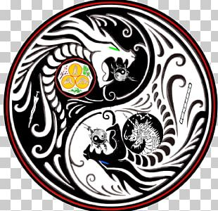 T-shirt Yin And Yang Chinese Dragon Tai Chi PNG