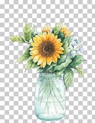 Common Sunflower Vase Painting PNG