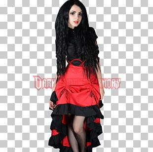 Gothic Fashion Bustle Skirt Cocktail Dress PNG