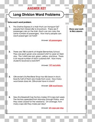 Word Problem Worksheet Mathematics Long Division PNG