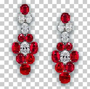 Ruby Earring Jewellery Red Diamond PNG