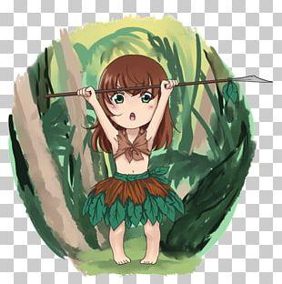 Jungle Girl Chibi Anime Art PNG