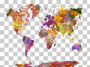 Watercolor Painting World Map Canvas PNG