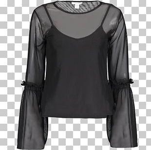 Blouse Shoulder Sleeve Black M PNG