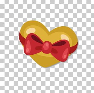 Golden Love Bow Material PNG