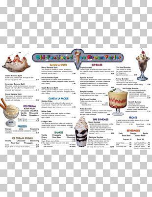 Ice Cream Old Fashioned Frozen Yogurt Menu PNG