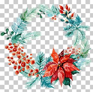 Wreath Christmas Ornament Wedding Invitation Watercolor Painting PNG
