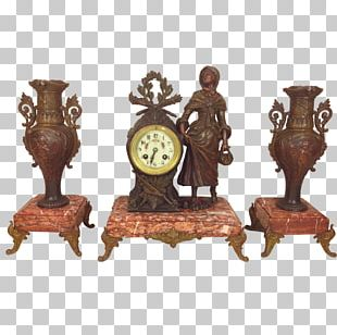 Garniture French Empire Mantel Clock Antique PNG