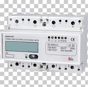 Electricity Meter Kilowatt Hour Three-phase Electric Power DIN Rail PNG
