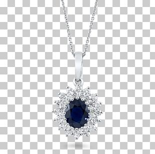 Sapphire Cobalt Blue Locket Necklace Body Jewellery PNG