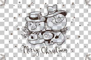 Snowman Drawing Christmas Sketch PNG