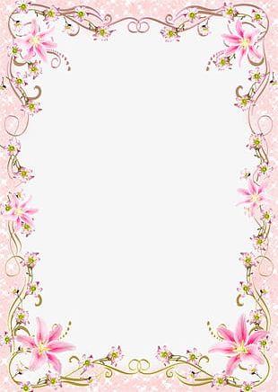 Floral Border Frame Romantic Pink Line PNG