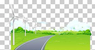 Hand-drawn Cartoon Landscape Road Windmill Grass Outskirts PNG