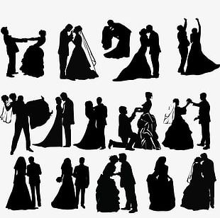 Silhouette Of Bride And Groom PNG
