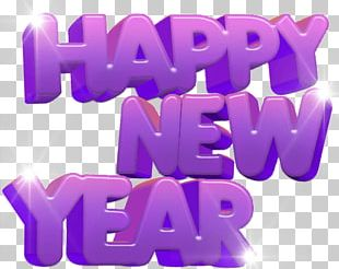 Happy New Year Purple PNG