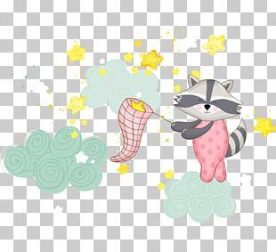 Raccoon Infant Baby Shower Illustration PNG
