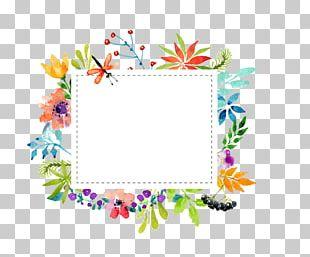 Watercolor Flowers Border Material PNG