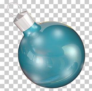 Turquoise Liquid Christmas Ornament Aqua PNG