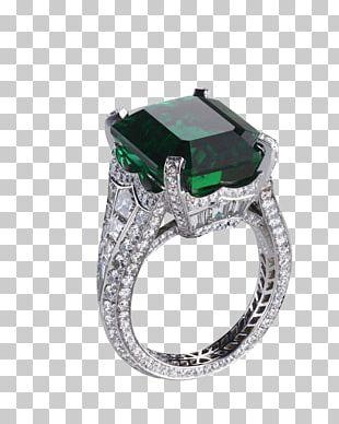 Engagement Ring Emerald Diamond Gemstone PNG
