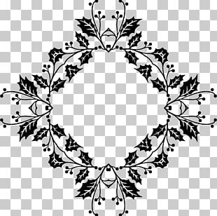 Floral Design Line Art Black And White PNG