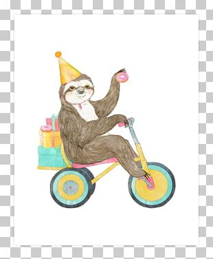 Sloth Birthday Greeting & Note Cards T-shirt PNG