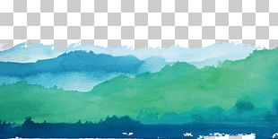 Watercolor Landscape Watercolor Painting Green Shan Shui PNG