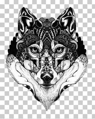 Gray Wolf Art Drawing Illustration PNG