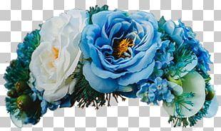Garden Roses Blue Floral Design Crown Headband PNG