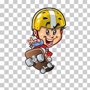 Skateboarding Cartoon Illustration PNG