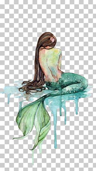 Paper Mermaid Watercolor Painting Printing PNG