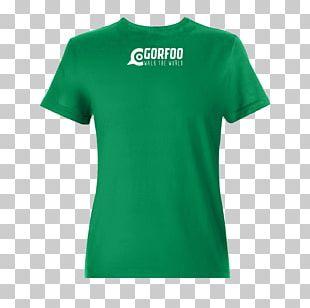 T-shirt Cotton Jersey Neckline Green PNG