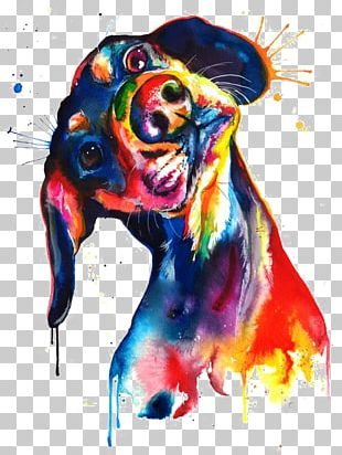 Dachshund Watercolor Painting Canvas Print PNG