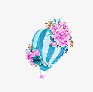 Blue Fresh Hot Air Balloon Decorative Patterns PNG