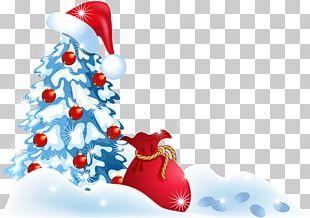 Santa Claus Christmas Tree Snowman Illustration PNG