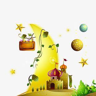 Cartoon Castle Planet Fantasy Decorative Pattern PNG