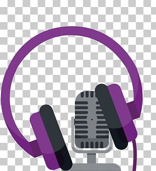 Purple Headphone Gray Mike Icon PNG
