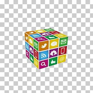 Social Media Marketing Cube PNG