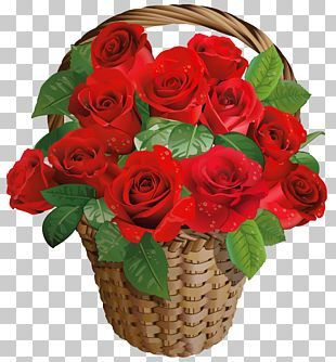 Rose Flower Basket Valentines Day PNG