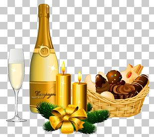New Year Delicacies And Champagne PNG