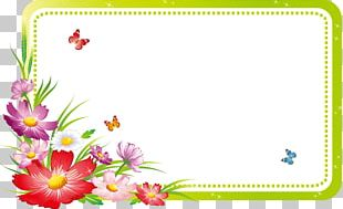 Fresh Spring Flowers Border Butterfly PNG
