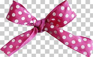 Bow Tie Polka Dot Hair Tie Ribbon Pink M PNG