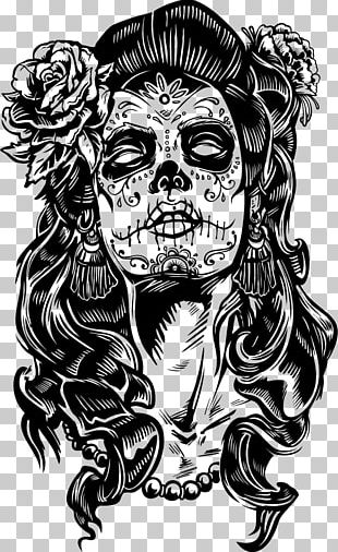 La Calavera Catrina Day Of The Dead Paper Skull PNG