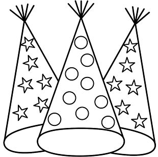 New Years Eve Coloring Book New Years Day Party Hat PNG