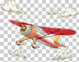 Airplane Watercolor Painting Illustration PNG