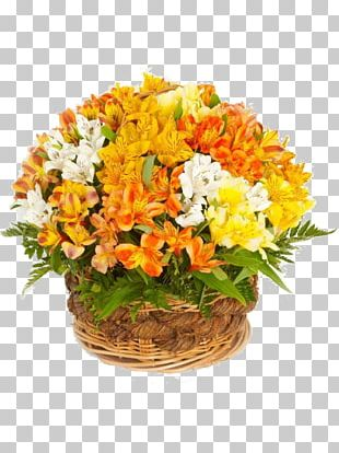 Flower Bouquet Basket Garden Roses Gift PNG