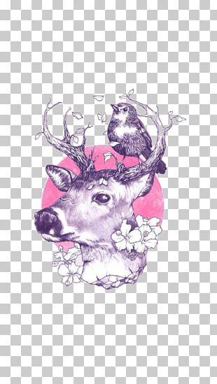 Deer Art Drawing Tattoo Illustration PNG